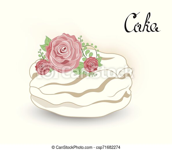 cake with flower - csp71682274