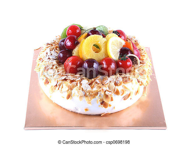 Cake with fruit topping - csp0698198