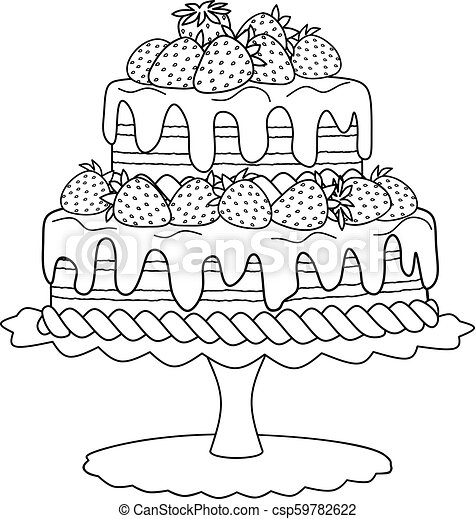 - Cake With Strawberries For Coloring Book. Chocolate Cake With Strawberries  And Cream For Coloring Book. CanStock