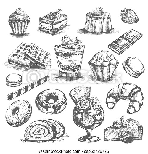 Cakes and cupcakes pastry bakery desserts vector sketch icons set - csp52726775