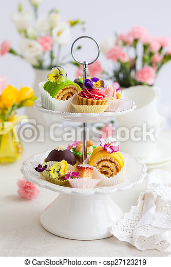 cakes for afternoon tea - csp27123219