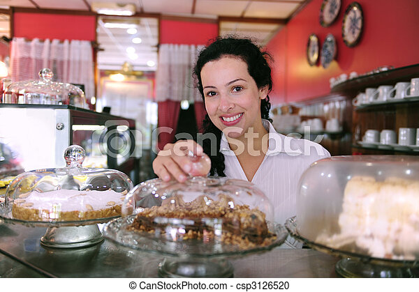 cakes, haar, zakelijk, het tonen, eigenaar, smakelijk, kleine, winkel - csp3126520