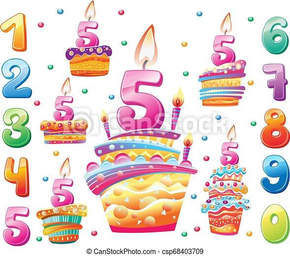 cakes, set, jaar, jarig, getallen, elke, vrolijke  - csp68403709