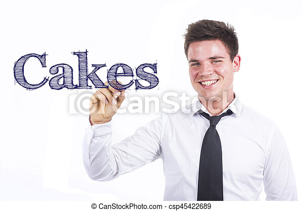 Cakes - Young smiling businessman writing on transparent surface - csp45422689