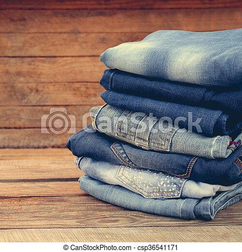 calças brim, pilha, roupas - csp36541171