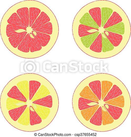 Limón, lima, naranja, pomelo rosa - csp37655452