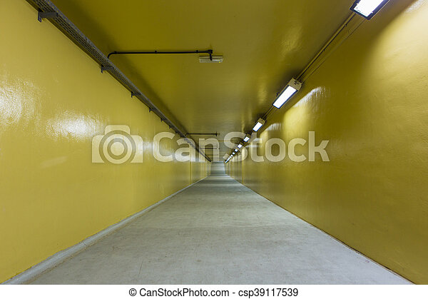 El túnel peatonal pasando bajo el arroyo en Dubai - csp39117539