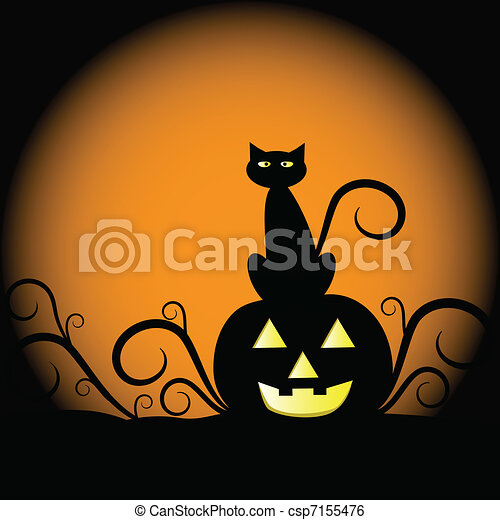 Calabaza y gato - csp7155476