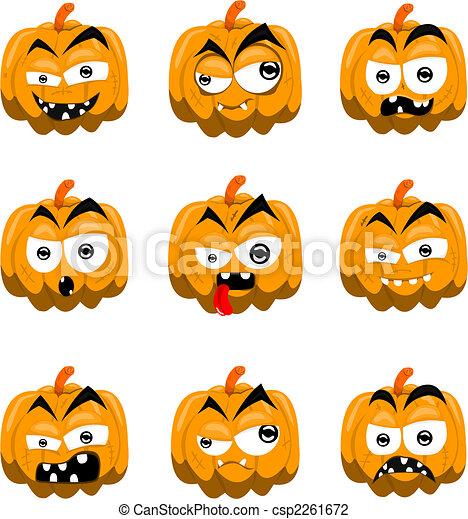 Cartoon Halloween calabazas - csp2261672