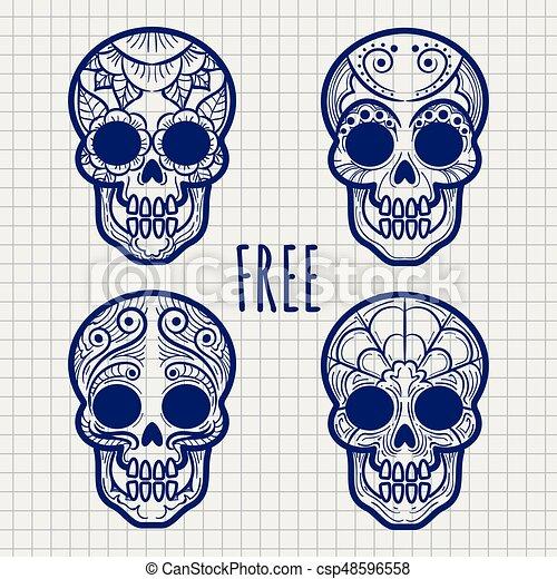 Calavera, cráneos, cuaderno, mexicano, página. Página, mexicano ...