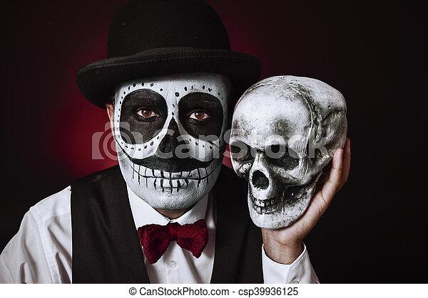 photo de stock de calaveras maquillage mexicain cr ne homme portrait csp39936125. Black Bedroom Furniture Sets. Home Design Ideas