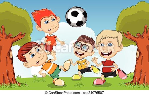 calcio, bambini giocando - csp34076507