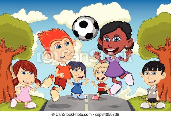 Calcio bambini giocando strada illustrazione bambini vettore