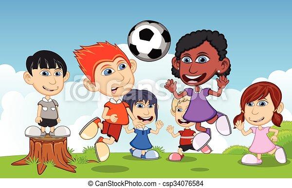 Calcio parco gioco bambini parco illustrazione bambini