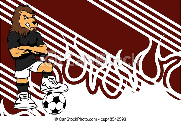 Calcio sportivo giocatore leone fondo forte cartone animato