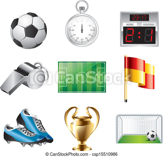calcio, vettore, set, icone - csp15510986