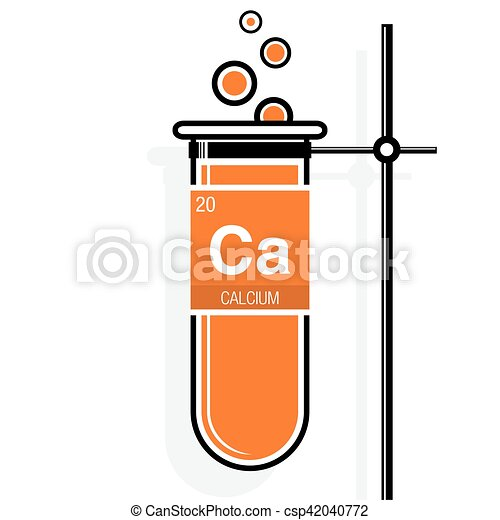 Calcium Symbol On Label In A Orange Test Tube With Holder Element