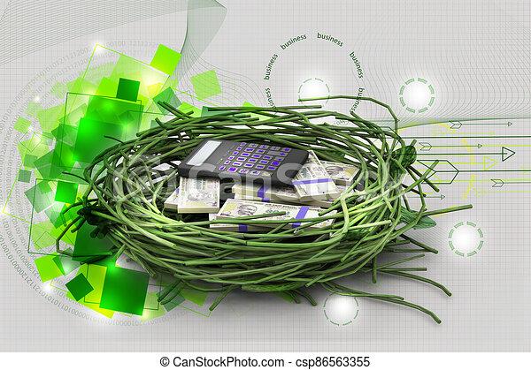 calculadora, protegido, nido, dólar - csp86563355