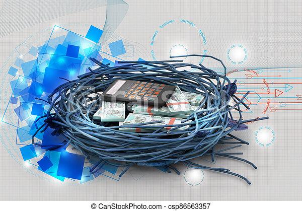 calculadora, protegido, nido, dólar - csp86563357