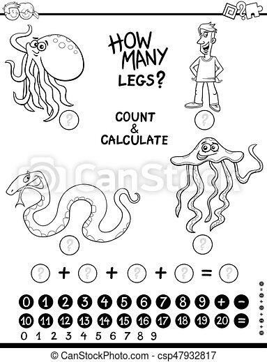 calculating activity coloring page - csp47932817
