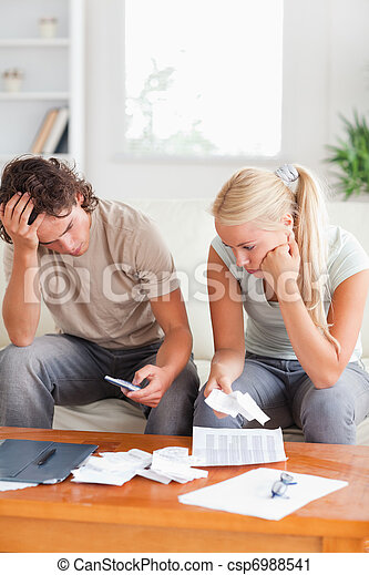 Calculating couple on a sofa - csp6988541