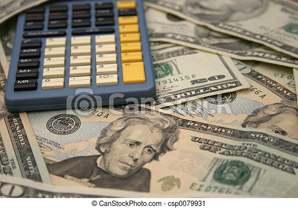 Calculator and money - csp0079931