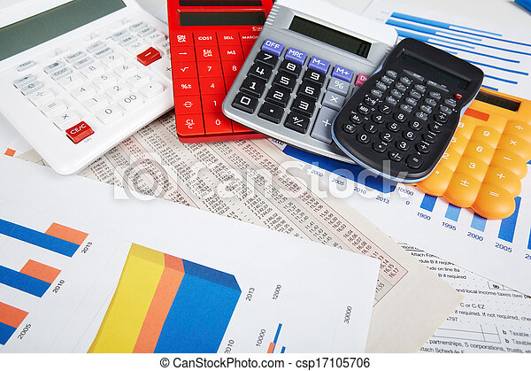 Calculator and office objects. - csp17105706