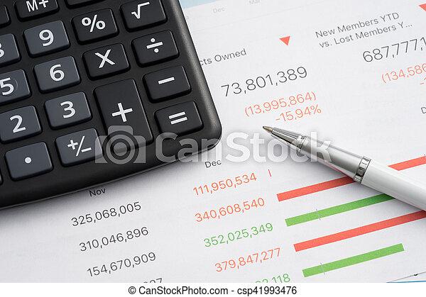 Calculator and pen - csp41993476