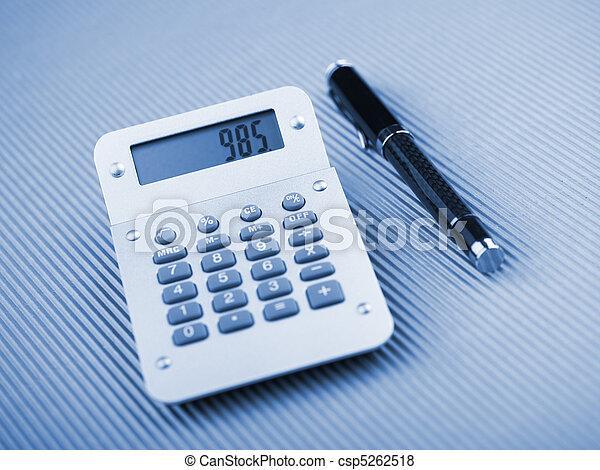 Calculator and pen - csp5262518