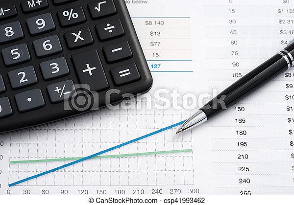 Calculator and pen - csp41993462