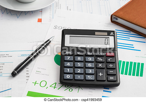 Calculator and pen - csp41993459