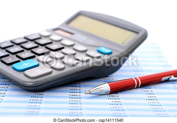 Calculator and pen. - csp14111540