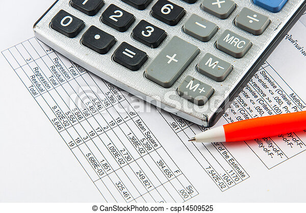 Calculator and pen. - csp14509525