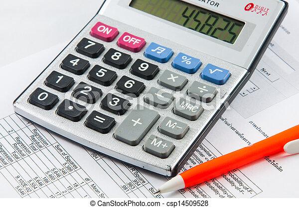 Calculator and pen. - csp14509528