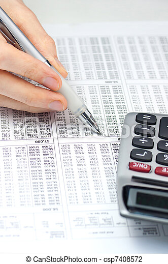 Calculator and Pen - csp7408572