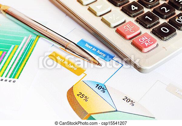 Calculator and Pen - csp15541207