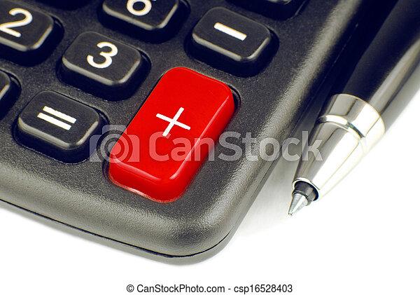 calculator and pen - csp16528403