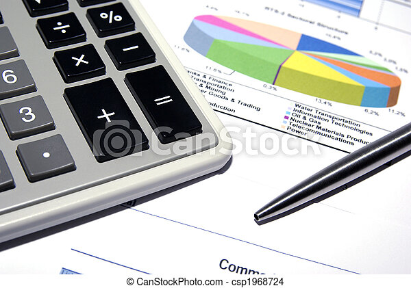 Calculator and steel pen on printed financial data. - csp1968724