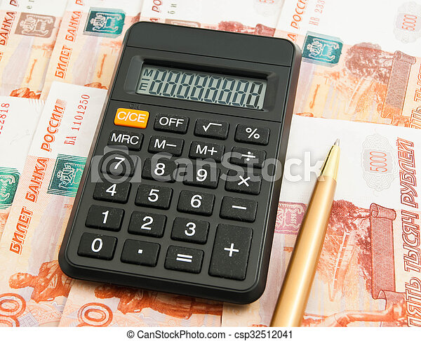 calculator, ball pen and Russian banknotes - csp32512041