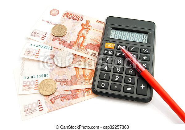 calculator, banknotes and pen - csp32257363