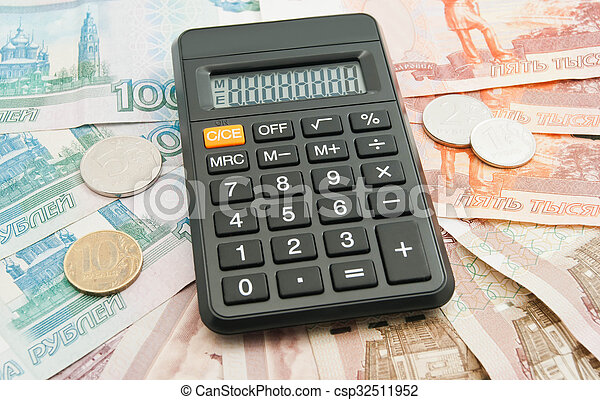 calculator, different Russian banknotes and coins - csp32511952