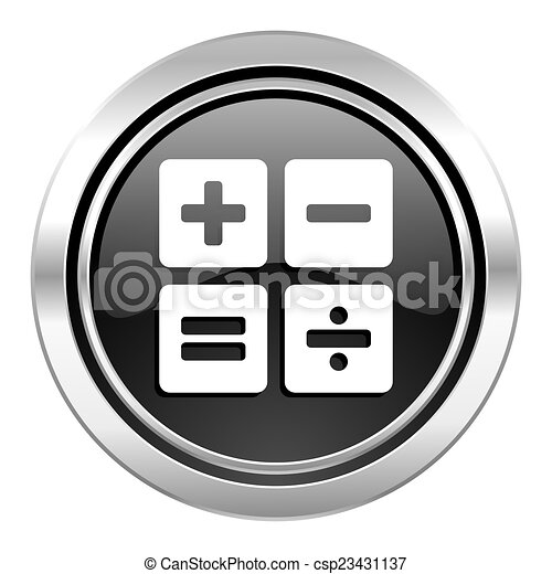 calculator icon, black chrome button, calc sign - csp23431137
