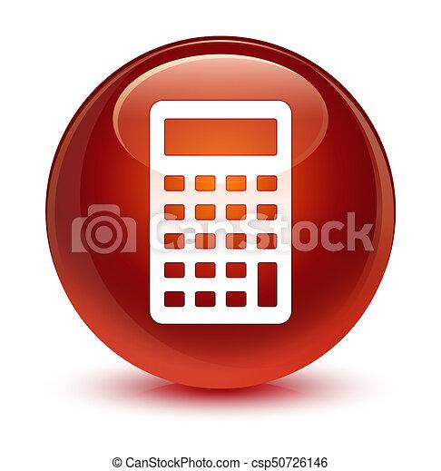 Calculator icon glassy brown round button - csp50726146