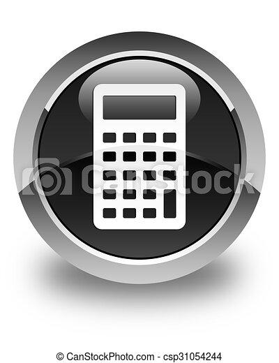 Calculator icon glossy black round button - csp31054244