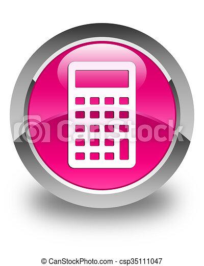 Calculator icon glossy pink round button - csp35111047
