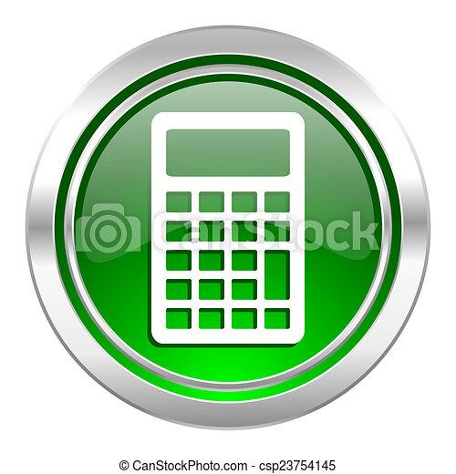 calculator icon, green button - csp23754145