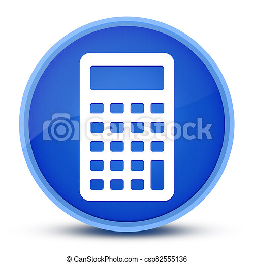 Calculator icon isolated on special blue round button abstract - csp82555136