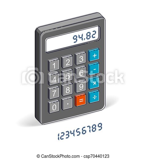 Calculator isolated on white background with letters set, easy editable to put any numbers over, 3d isometric vector illustration. - csp70440123
