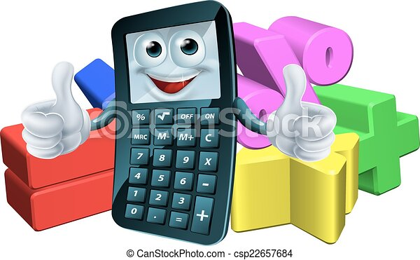 Calculator man and math symbols. An illustration of a calculator man ...