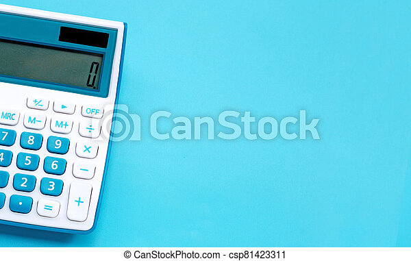 Calculator on blue background, top view - csp81423311